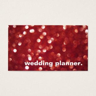 Red Glitter Sparkles Bokeh Lights Wedding Planner Business Card