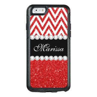 Red Glitter Sparkles White Chevron Pattern OtterBox iPhone 6/6s Case