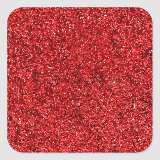 Red Glitter Square Sticker