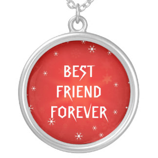 Red Glitter Star Best Friends Forever Round Pendant Necklace