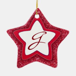 Red glitter star customizable monogram ornament