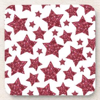 red glitter stars drink coaster
