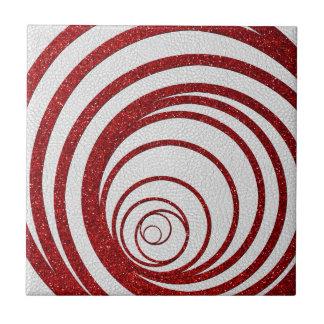 Red Glitter Swirly Ceramic Tile