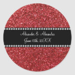 Red glitter wedding favors classic round sticker