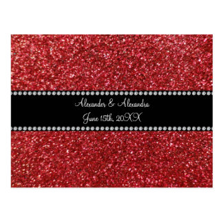 Red glitter wedding favors post card