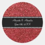 Red glitter wedding favors sticker