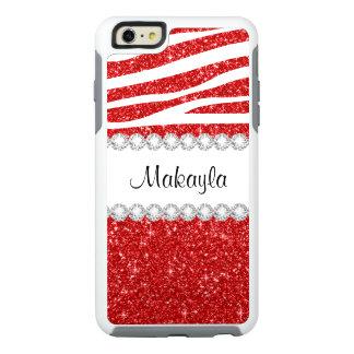 Red Glitter White Zebra OtterBox iPhone 6/6s Case