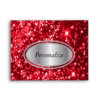 Red Glitter with Silver Name Plate Envelope