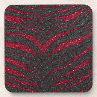 Red Glitter Zebra Print Coaster