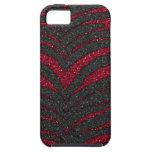 Red Glitter Zebra Print iPhone 5 Covers