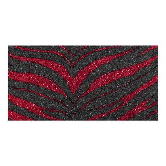 Red Glitter Zebra Print Photo Card Template