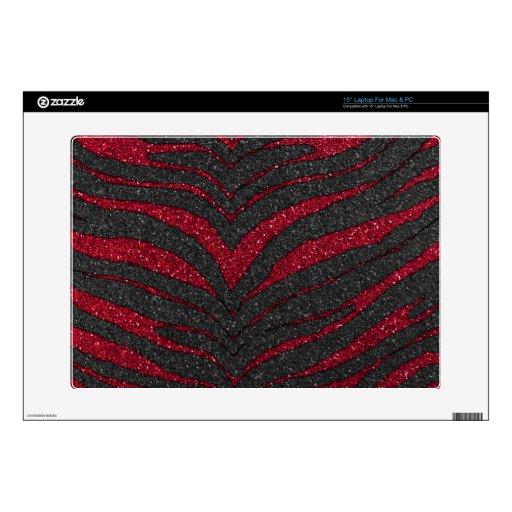 Red Glitter Zebra Print Skin For Laptop