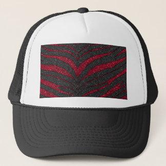 Red Glitter Zebra Print Trucker Hat