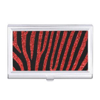 Red glitter zebra stripes business card holder