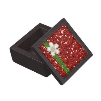 Red Glitters Premium Square Gift Box Premium Keepsake Boxes