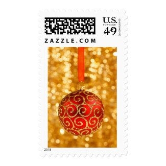 Red Glittery Christmas Festive Ornament Postage Stamp
