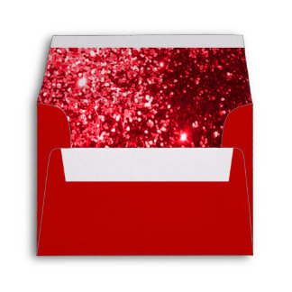Red Glittery Lined Inside Envelope