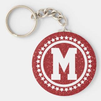 Red Glitz Super Star Monogrammed Keychain