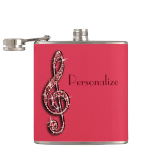 Red Glitzy Sparkly Music Notes Hip Flask