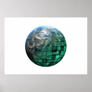 Red global de la tecnología del negocio con póster
