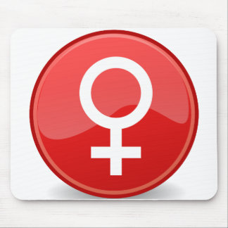Red Glossy Female Symbol Woman Icon Mouse Pad