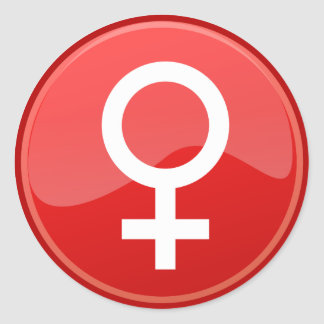 Red Glossy Female Symbol Woman Icon Classic Round Sticker
