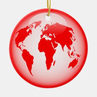 Red Glossy Globe Ceramic Ornament
