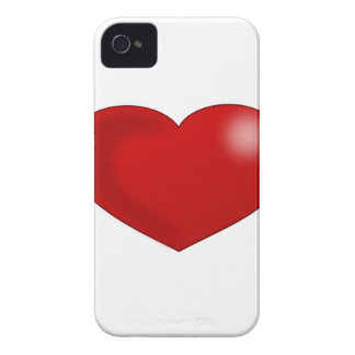 Red Glossy Valentine Heart iPhone 4 Case-Mate Case