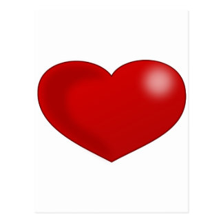 Red Glossy Valentine Heart Postcard