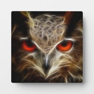 Red glow eye Owl decorative art plaque