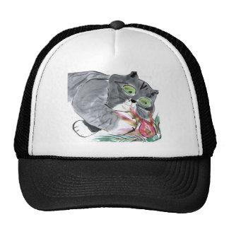 Red Glow & Frank, the Gray Tiger Kitten Trucker Hat
