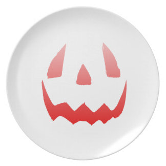 Red Glow Happy Halloween Face Party Plates