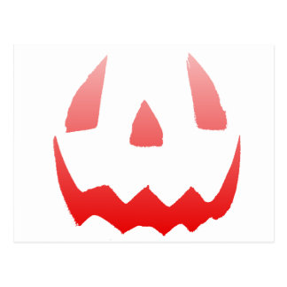 Red Glow Happy Halloween Face Postcard