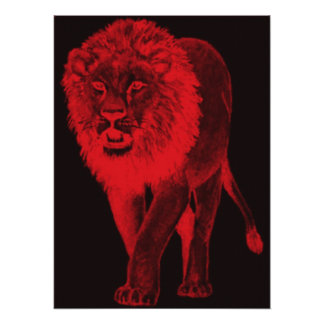 Red Glow Lion Poster