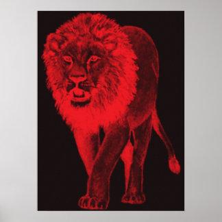 Red Glow Lion Print