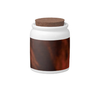 red glow of fire candy jar