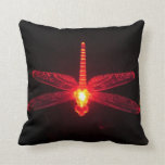 Red Glowing Dragonfly Pillow Cushion