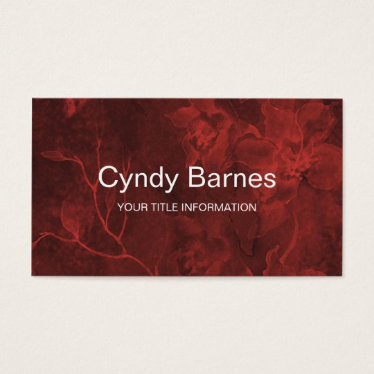 Red Glowing Floral Watercolor Business Card