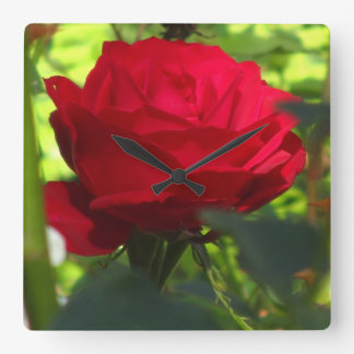Red Glowing Flower Square Wall Clock