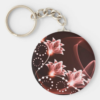 red glowing flowers and swirls and dots keychain