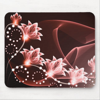 red glowing flowers and swirls and dots mousepads