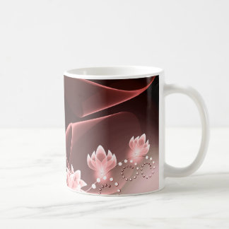 red glowing flowers and swirls and dots mug