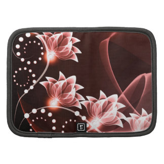 red glowing flowers and swirls and dots planners