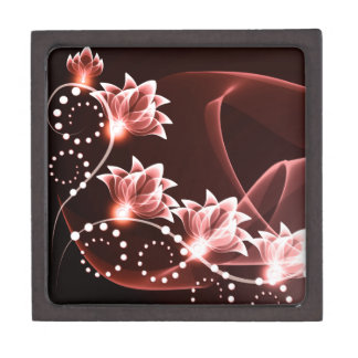 red glowing flowers and swirls and dots premium jewelry box