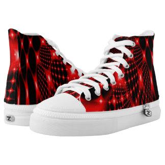 Red glowing net fractal High-Top sneakers