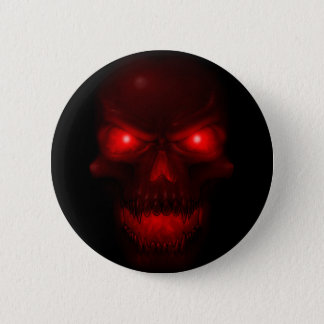 Red Glowing Skull Pinback Button