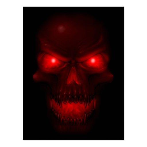Red Glowing Skull Postcard