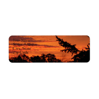 Red Glowing Sunrise Behind Darken Trees Labels Return Address Label
