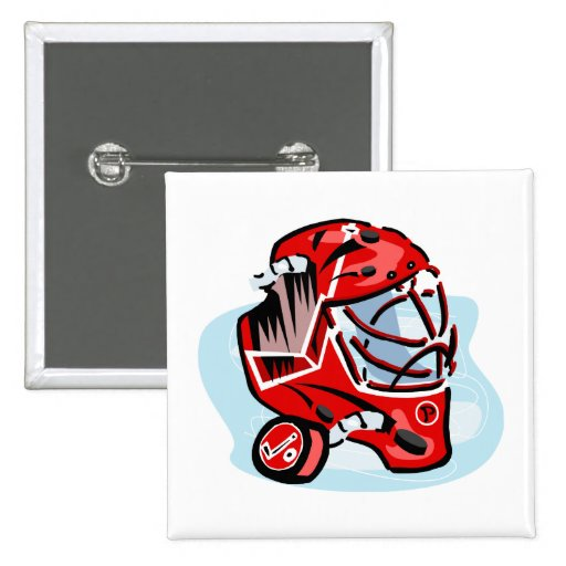 Red Goalie Mask Buttons