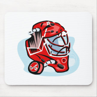Red Goalie Mask Mouse Pad